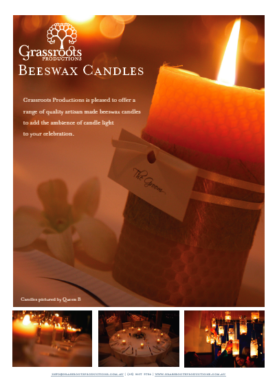 handmade beeswax candles, event candles, eco-chic wedding, eco-chic bride, natural wedding, sustainable event Grassroots Productions